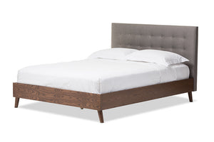 Baxton Studio Alinia Mid-century Retro Modern Grey Fabric Upholstered Walnut Wood Queen Size Platform Bed - Grey-Platform Beds-HipBeds.com