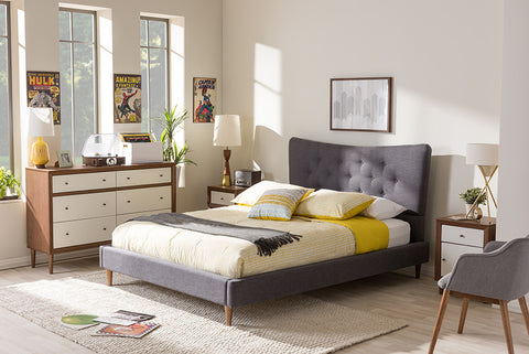 Baxton Studio Hannah Mid-Century Modern Dark Grey Fabric King Size Platform Bed - Dark Grey-Platform Beds-HipBeds.com