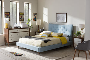 Baxton Studio Hannah Mid-Century Modern Sky Blue Fabric Full Size Platform Bed - Light Blue-Platform Beds-HipBeds.com