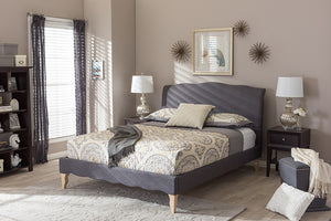 Baxton Studio Fannie French Classic Modern Style Dark Grey Polyester Fabric Full Size Platform Bed - Dark Grey-Platform Beds-HipBeds.com