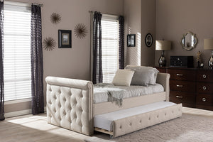 Baxton Studio Swamson Modern and Contemporary Beige Fabric Tufted Twin Size Daybed with Roll-out Trundle Guest Bed - Light Beige-Platform Beds-HipBeds.com