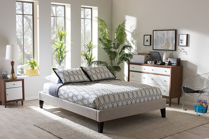 Baxton Studio Lancashire Modern and Contemporary Beige Linen Fabric Upholstered Full Size Bed Frame with Tapered Legs  - Beige