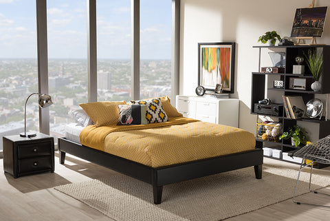 Baxton Studio Lancashire Modern and Contemporary Black Faux Leather Upholstered King Size Bed Frame with Tapered Legs - Black-Platform Beds-HipBeds.com