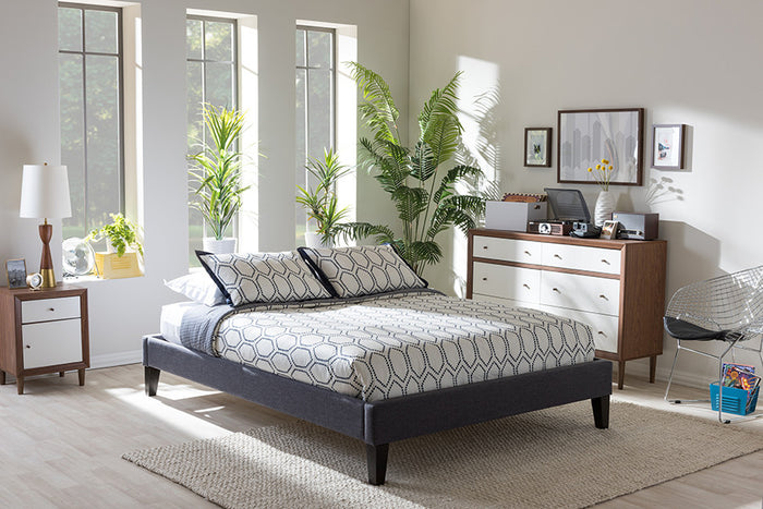 Baxton Studio Lancashire Modern and Contemporary Grey Fabric Upholstered King Size Bed Frame with Tapered Legs  - Dark Grey