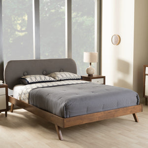 Baxton Studio Penelope Walnut Wood Grey King Size Platform Bed-Platform Beds-HipBeds.com