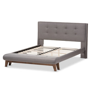Baxton Studio Reena Grey Full Size Platform Bed with Built-in Bench - 3