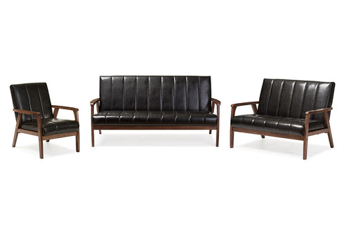 Baxton Studio Nikko Mid-century Modern Scandinavian Style Black Faux Leather 3 Pieces Living Room Sets