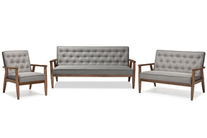 Baxton Studio Sorrento Mid-century Retro Modern Grey Fabric Upholstered Wooden 3 Piece Living room Set-Furniture Sets-HipBeds.com