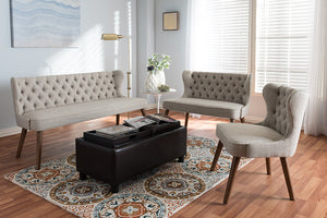 Baxton Studio Scarlett Brown Wood & Beige Fabric Button-Tufting Livingroom 3-Piece Sofa Set-Sofas-HipBeds.com