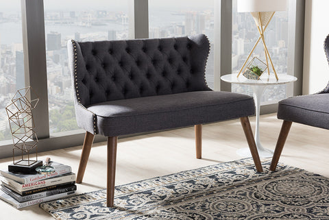 Baxton Studio Scarlett Mid-Century Modern Brown Wood and Dark Grey Fabric Upholstered Button-Tufting with Nail Heads Trim 2-Seater Loveseat Settee