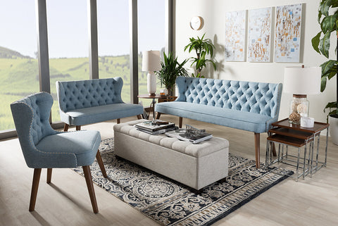 Baxton Studio Scarlett Walnut Brown Wood & Blue Fabric Button-Tufting Livingroom 3-Piece Sofa Set-Sofas-HipBeds.com