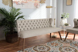 Baxton Studio Scarlett Brown Wood & Beige Fabric Button-Tufting 3-Seater Sofa-Sofas-HipBeds.com