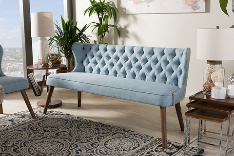 Baxton Studio Scarlett Brown Wood & Blue Fabric Button-Tufting 3-Seater Sofa-Sofas-HipBeds.com