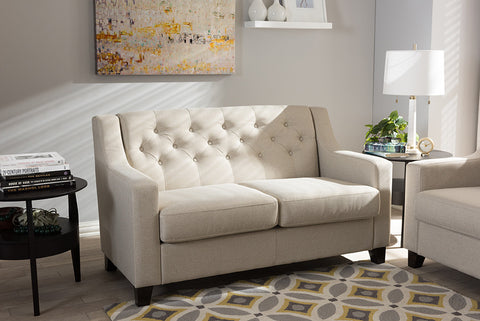 Baxton Studio Arcadia Light Beige Fabric Button-Tufted Living Room 2-Seater Loveseat-Sofas-HipBeds.com