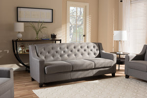 Baxton Studio Arcadia Modern and Contemporary Grey Fabric Upholstered Button-Tufted Living Room 3-Seater Sofa