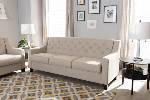 Baxton Studio Arcadia Modern and Contemporary Light Beige Fabric Upholstered Button-Tufted Living Room 3-Seater Sofa