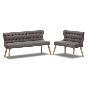 Baxton Studio Melody Natural Wood Grey 2-Piece Settee Set-Furniture Sets-HipBeds.com