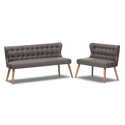Baxton Studio Melody Natural Wood Grey 2-Piece Settee Set - 1