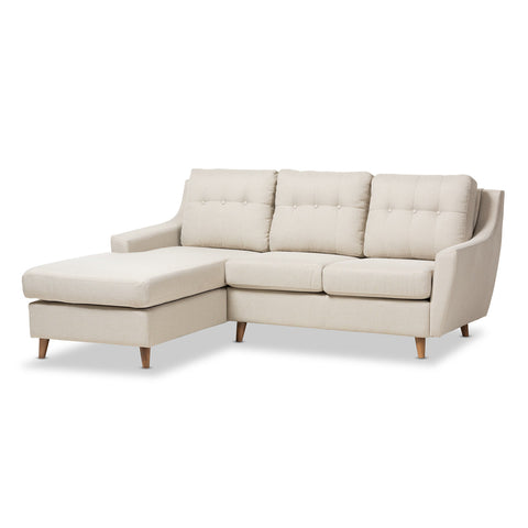 Baxton Studio Mckenzie Light Beige Button-Tufted 2-Piece Sectional Sofa - 1
