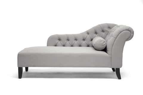 Baxton Studio Aphrodite Tufted Putty Gray Linen Modern Chaise Lounge-Chairs-HipBeds.com