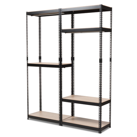 Baxton Studio Gavin Black Metal 7-Shelf Closet Storage Racking Organizer - 1