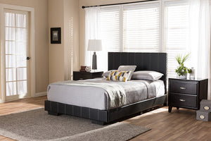 Baxton Studio Atlas Modern and Contemporary Black Faux Leather Full Size Platform Bed - Black-Platform Beds-HipBeds.com