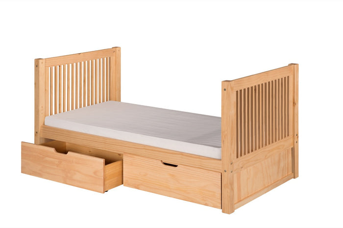 Camaflexi Twin Tall Platform Bed with Drawers - Mission Headboard - Natural Finish - C1011_DR