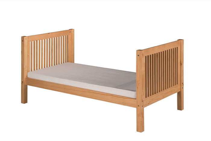 Camaflexi Twin Tall Platform Bed - Mission Headboard - Natural Finish - C1011_NT