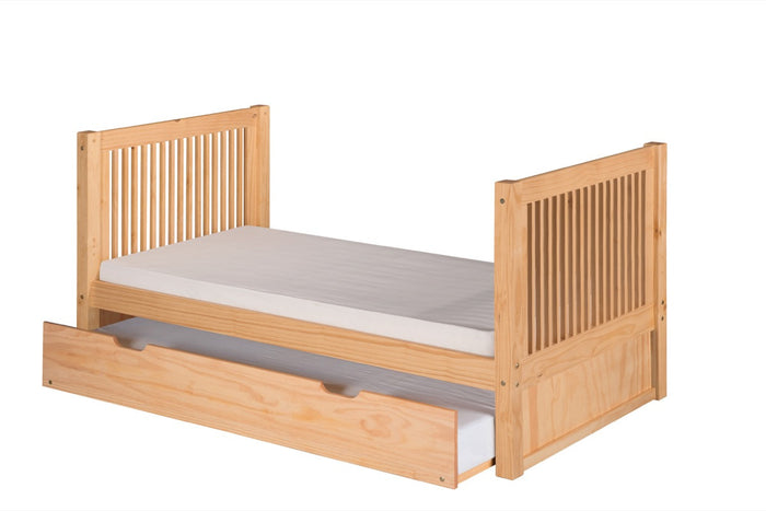 Camaflexi Twin Tall Platform Bed with Twin Trundle - Mission Headboard - Natural Finish - C1011_TR