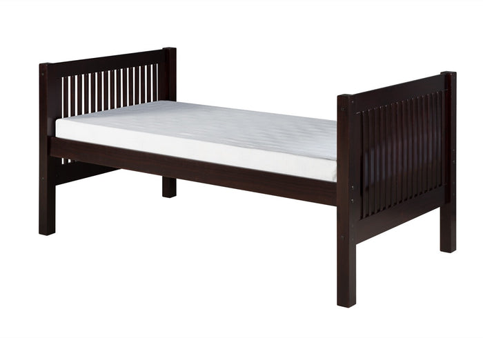 Camaflexi Twin Tall Platform Bed - Mission Headboard - Cappuccino Finish - C1012_CP