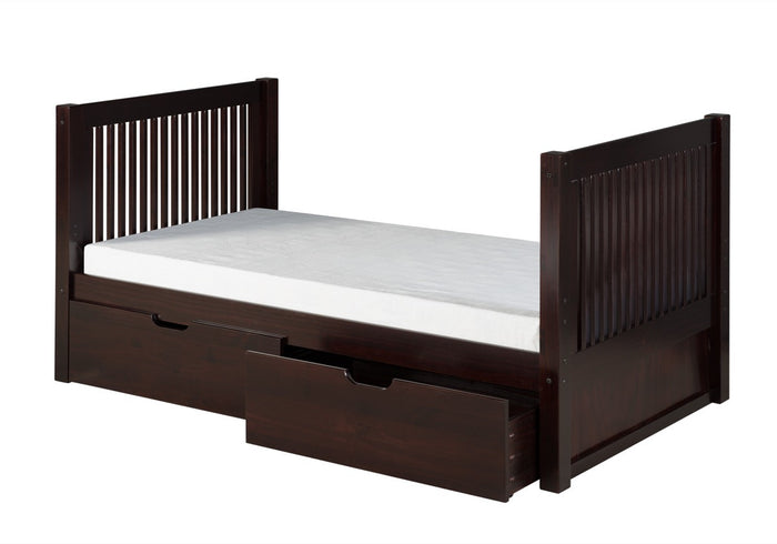 Camaflexi Twin Tall Platform Bed with Drawers - Mission Headboard - Cappuccino Finish - C1012_DR