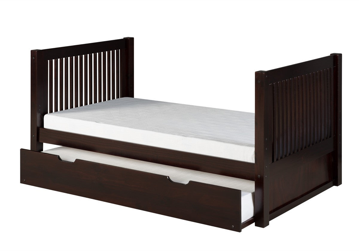 Camaflexi Twin Tall Platform Bed With Twin Trundle Mission Headboard Hipbeds Com