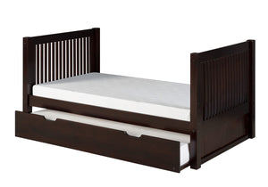 Camaflexi Twin Tall Platform Bed with Twin Trundle - Mission Headboard - Cappuccino Finish - C1012_TR-Sleigh Beds-HipBeds.com