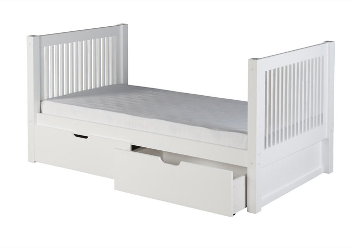 Camaflexi Twin Tall Platform Bed with Drawers - Mission Headboard - White Finish - C1013_DR