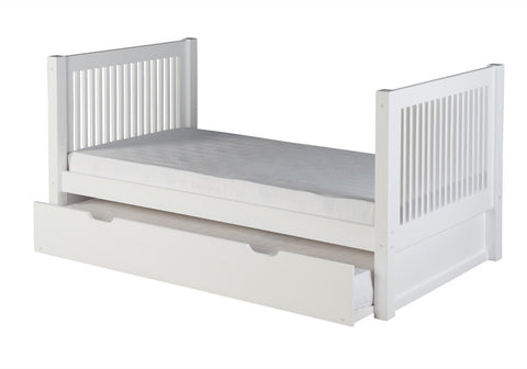 Camaflexi Twin Tall Platform Bed with Twin Trundle - Mission Headboard - White Finish - C1013_TR-Sleigh Beds-HipBeds.com