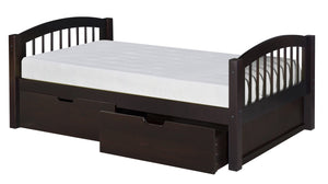 Camaflexi Platform Bed with Drawers - Arch Spindle Headboard - Cappuccino Finish - C102_DR-Sleigh Beds-HipBeds.com