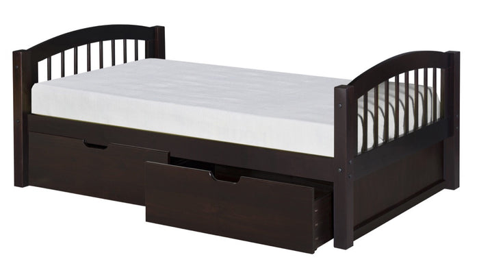 Camaflexi Platform Bed with Drawers - Arch Spindle Headboard - Cappuccino Finish - C102_DR