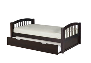Camaflexi Platform Bed with Twin Trundle - Arch Spindle Headboard - Cappuccino Finish - C102_TR-Platform Beds-HipBeds.com