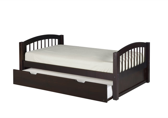 Camaflexi Platform Bed with Twin Trundle - Arch Spindle Headboard - Cappuccino Finish - C102_TR