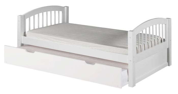 Camaflexi Platform Bed with Twin Trundle - Arch Spindle Headboard - White Finish - C103_TR