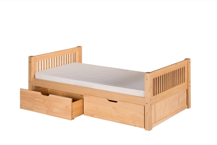 Camaflexi Platform Bed with Drawers - Mission Headboard - Natural Finish - C111_DR