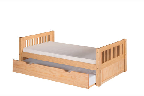 Camaflexi Platform Bed with Twin Trundle - Mission Headboard - Natural Finish - C111_TR-Platform Beds-HipBeds.com