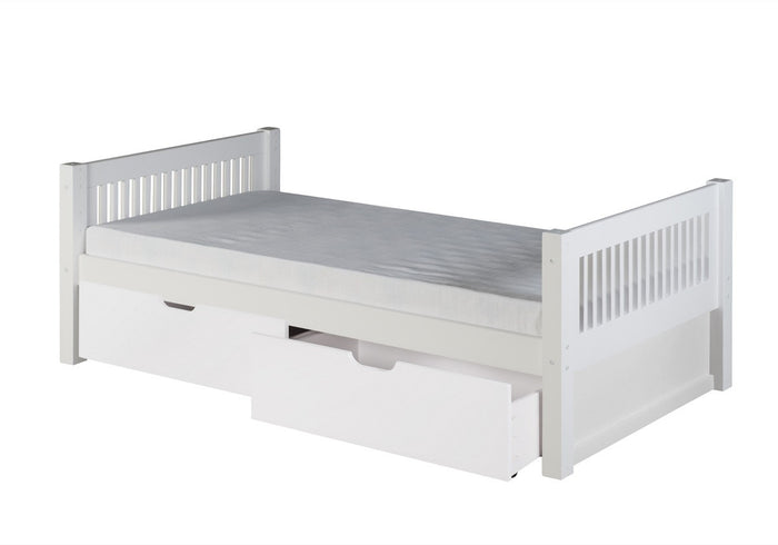 Camaflexi Platform Bed with Drawers - Mission Headboard - White Finish - C113_DR
