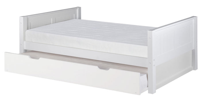 Camaflexi Platform Bed with Twin Trundle - Panel Headboard - White Finish - C123_TR