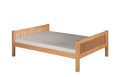 Camaflexi Full Size Platform Bed with Drawers - Mission Headboard - Natural Finish - C1411_DR