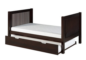 Camaflexi Full Size Platform Bed with Twin Trundle - Mission Headboard - Cappuccino Finish - C1412_TR-Platform Beds-HipBeds.com