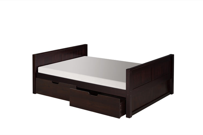 Camaflexi Full Size Platform Bed with Drawers - Panel Headboard - Cappuccino Finish - C1422_DR