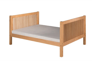 Camaflexi Full Size Platform Bed Tall - Mission Headboard - Natural Finish - C1511_NT-Platform Beds-HipBeds.com
