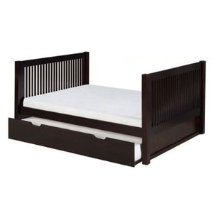 Camaflexi Full Size Platform Bed Tall with Twin Trundle - Mission Headboard - Natural Finish - C1511_TR-Platform Beds-HipBeds.com