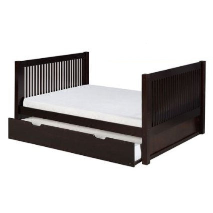 Camaflexi Full Size Platform Bed  Tall with Twin Trundle - Mission Headboard - Natural Finish - C1511_TR